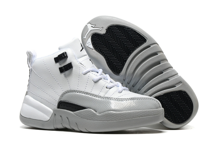 Kids Air Jordan 12 Barons White Black Wolf Grey Shoes
