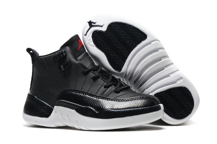 Kids Air Jordan 12 Black Nylon Black White Gym Red Shoes