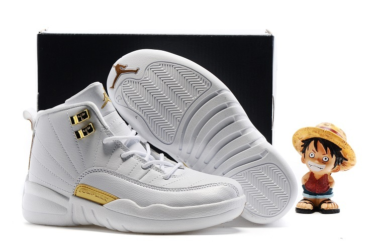Kids Air Jordan 12 Retro All White Gold 2016 Shoes