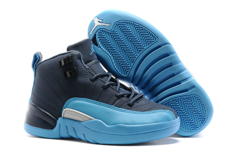 Kids Air Jordan 12 Retro Blue Navy 2016 Shoes