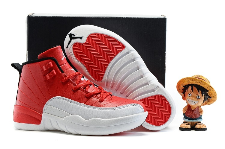 Kids Air Jordan 12 Retro Gym Red Gym Red Black White Shoes