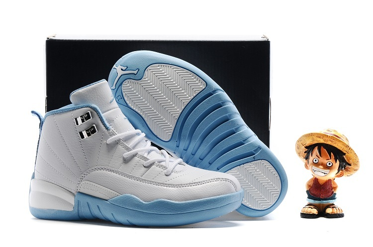 Kids Air Jordan 12 Retro Melo White Metallic Gold University Blue Shoes
