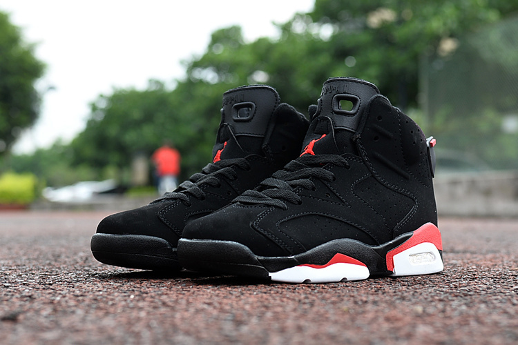 Kids Air Jordan 6 Retro Black Red Shoes