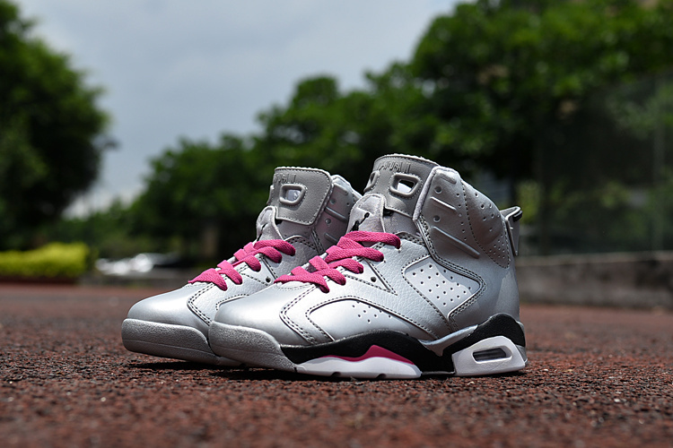 Kids Air Jordan 6 Retro Silver Pink Black Shoes