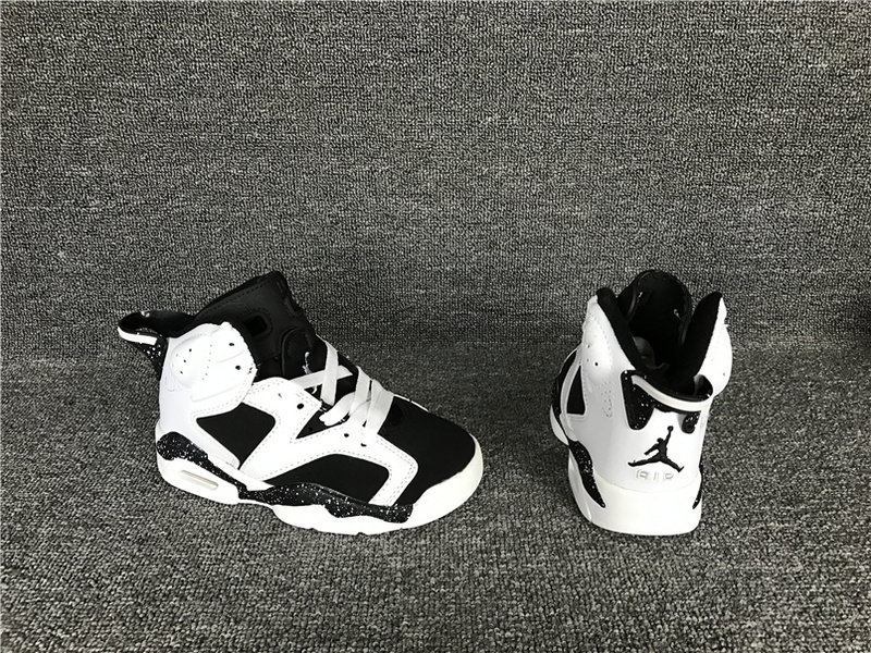 Kids Air Jordan 6 Retro White Black Shoes
