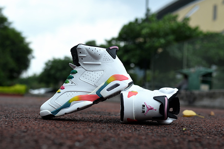 Kids Air Jordan 6 Retro White Colorful Shoes