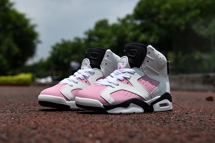 Kids Air Jordan 6 Retro White Pink Black Shoes