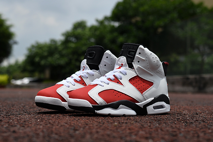 Kids Air Jordan 6 Retro White Red Black Shoes