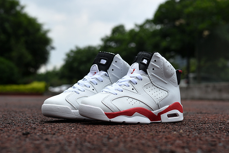 Kids Air Jordan 6 Retro White Red Shoes