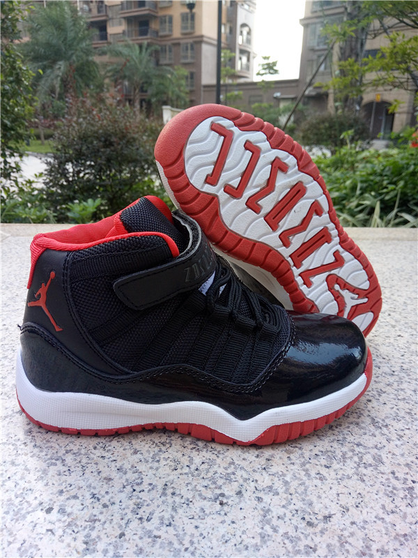 Kids Jordan 11 Retro Black Red White Shoes