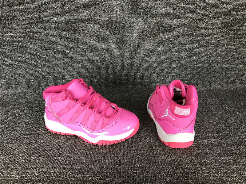 Kids Jordan 11 Retro Pink White Shoes