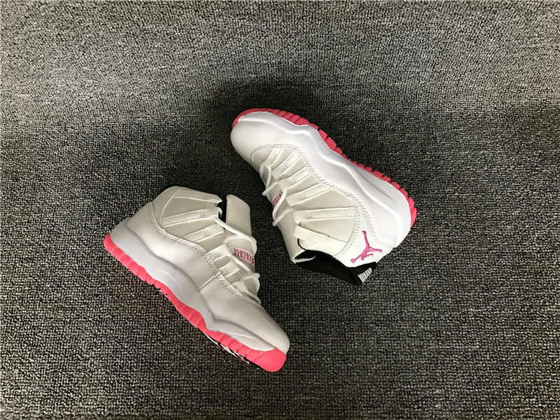 Kids Jordan 11 Retro White Red Shoes
