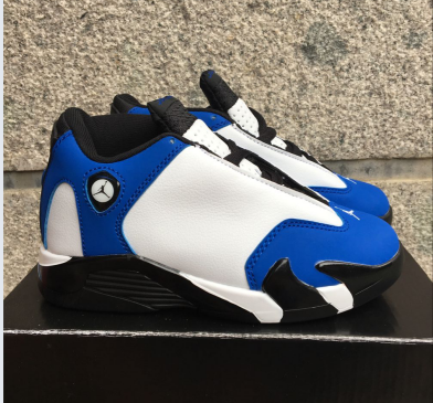 Kids Jordan 14 White Blue Black Shoes