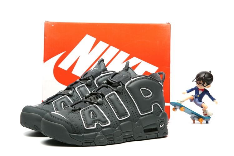 Kids Nike Air More Uptempo All Black Shoes