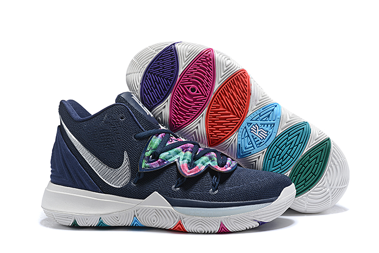 Kids Nike Kyrie 5 Dark Blue White Shoes