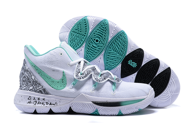 Kids Nike Kyrie 5 White Green Shoes
