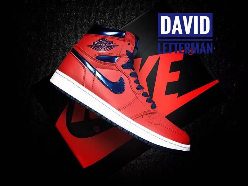 Latest Jordan 1 Retro David Letterman Red Blue White Shoes