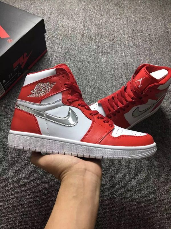 Latest Jordan 1 Retro White Red Silver Shoes
