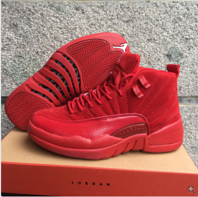 Latest Jordan 12 Retro Deer Leather All Red Shoes