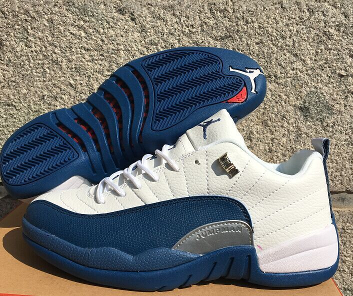 Latest Jordan 12 Retro Low White French Blue Shoes