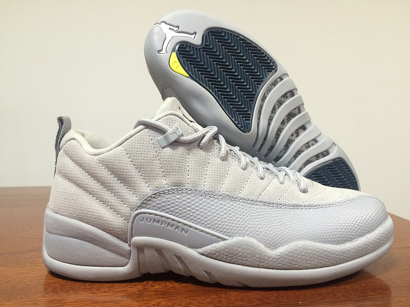 Latest Jordan 12 Retro Low White Grey Blue Shoes