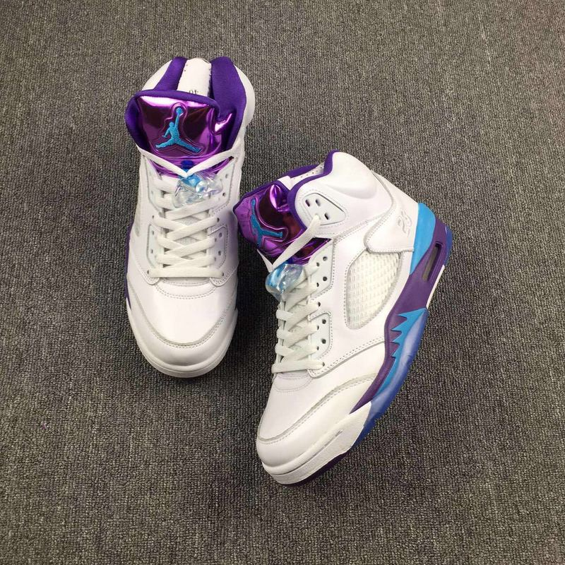 Latest Jordan 5 Retro Hornets White Blue Purple Shoes