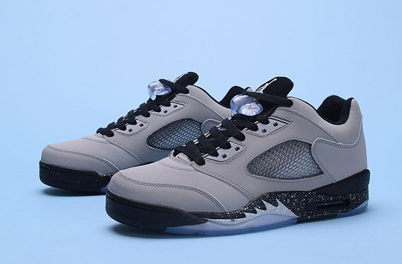 Latest Jordan 5 Retro Low Wolf Grey Black Shoes