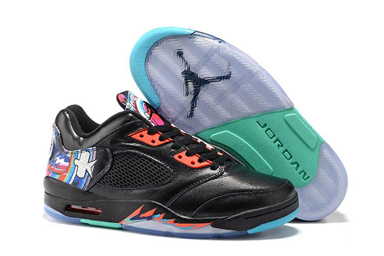Latest Women Jordan 5 Retro Low Kite Black Orange Shoes