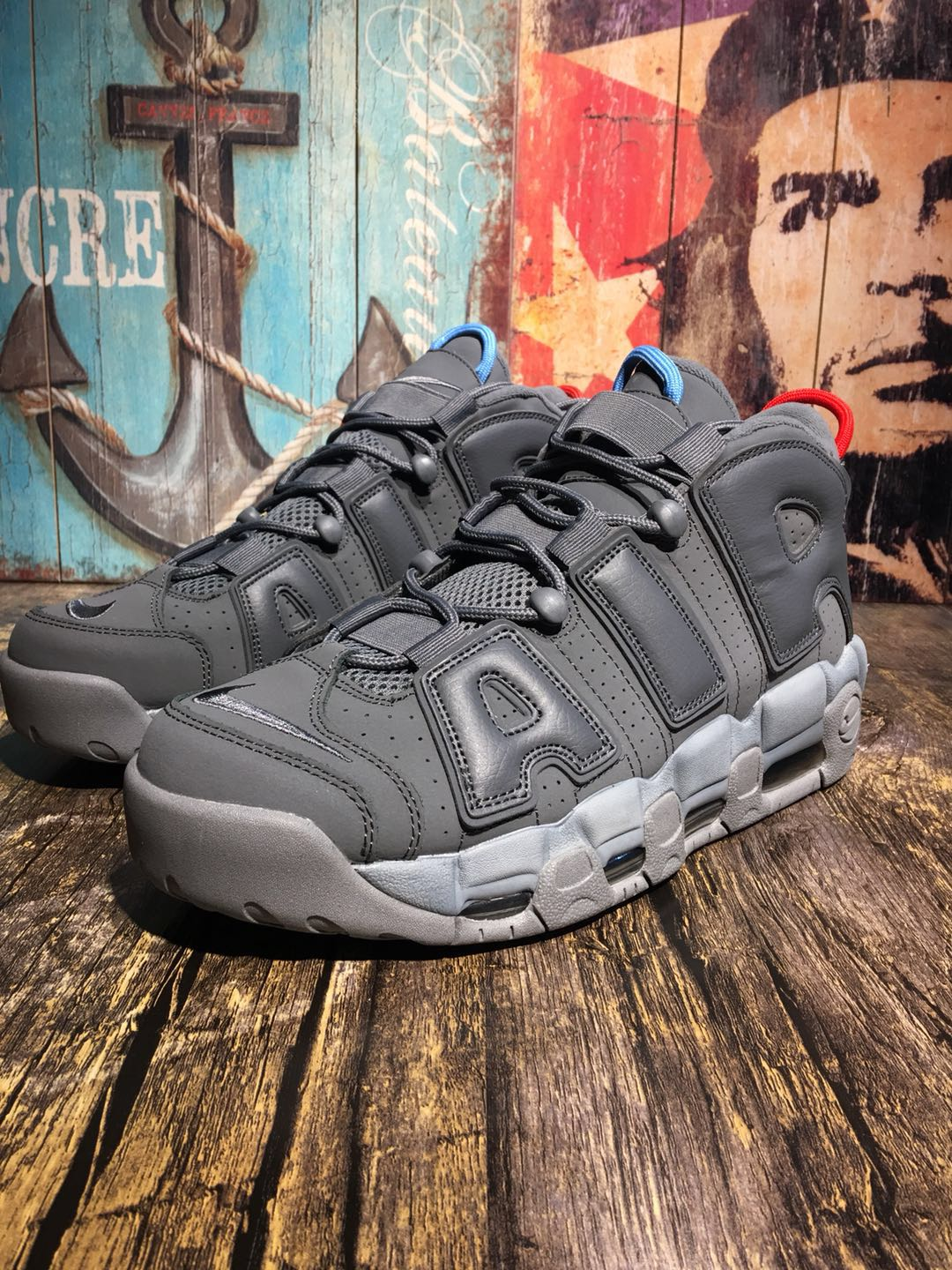 Alexander-John Nike Air Uptempo Carbon Grey Shoes