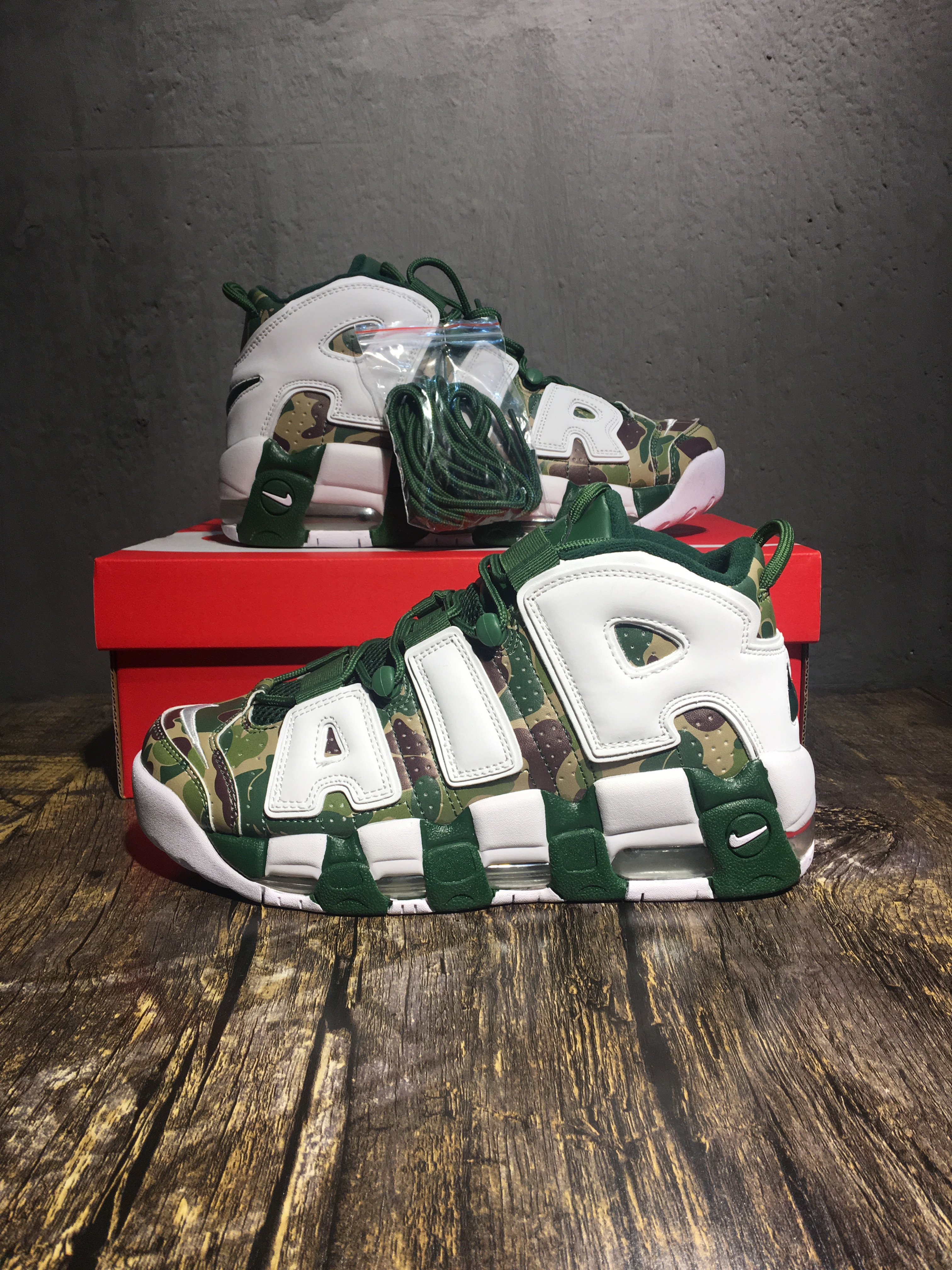 Bape&Nike Air Uptempo Green White Shoes