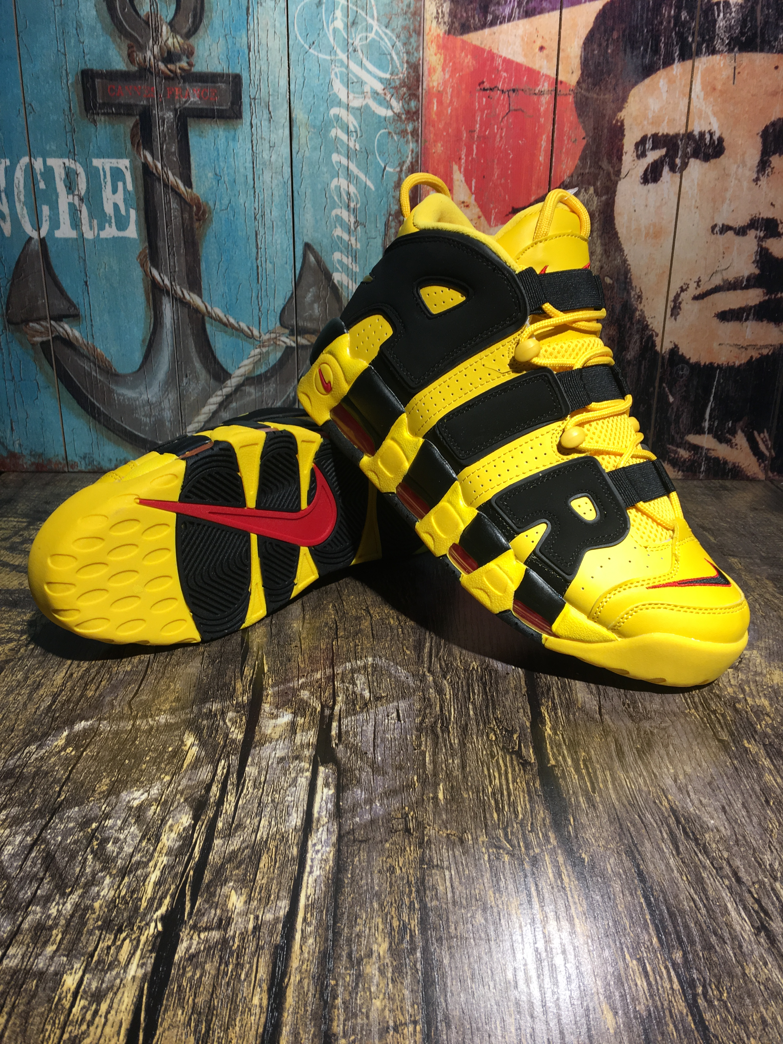 Women Nike Air Uptempo Yellow Black Shoes