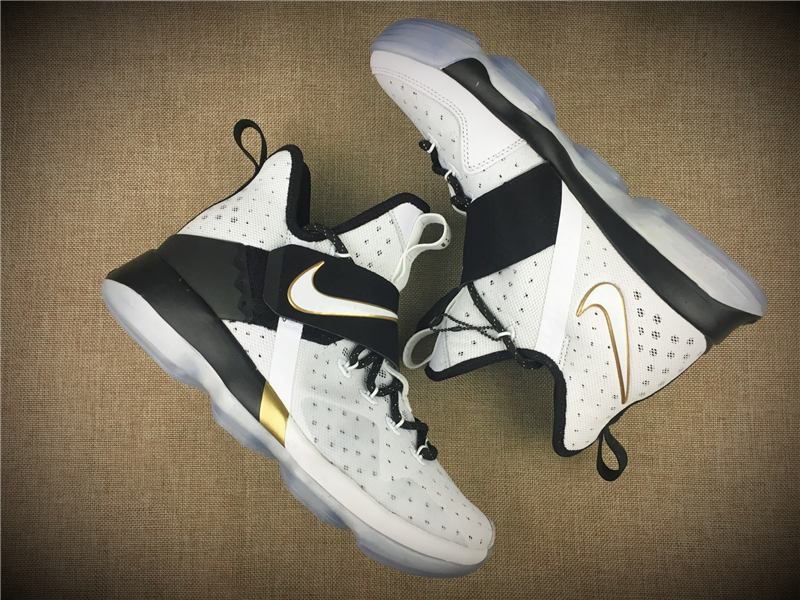 Men NIKE LEBRON XIV XMAS EP LBJ White Black Gold Shoes