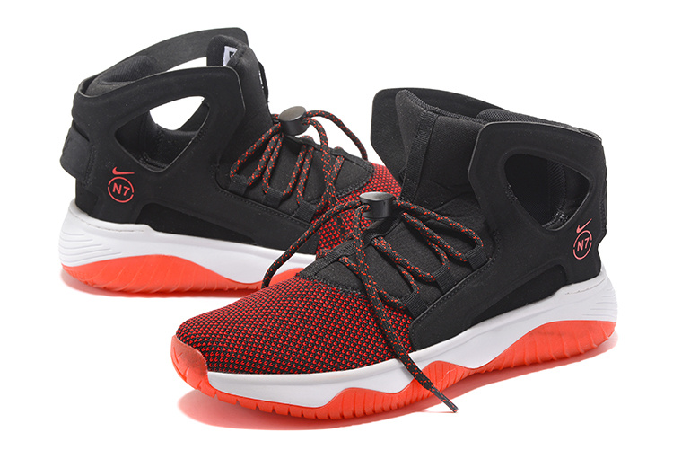 Men Nike Air Flight Huarache Black Reddish Orange Shoes