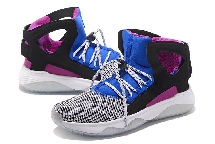 Men Nike Air Flight Huarache Blue-Grey Black Purple Shoes