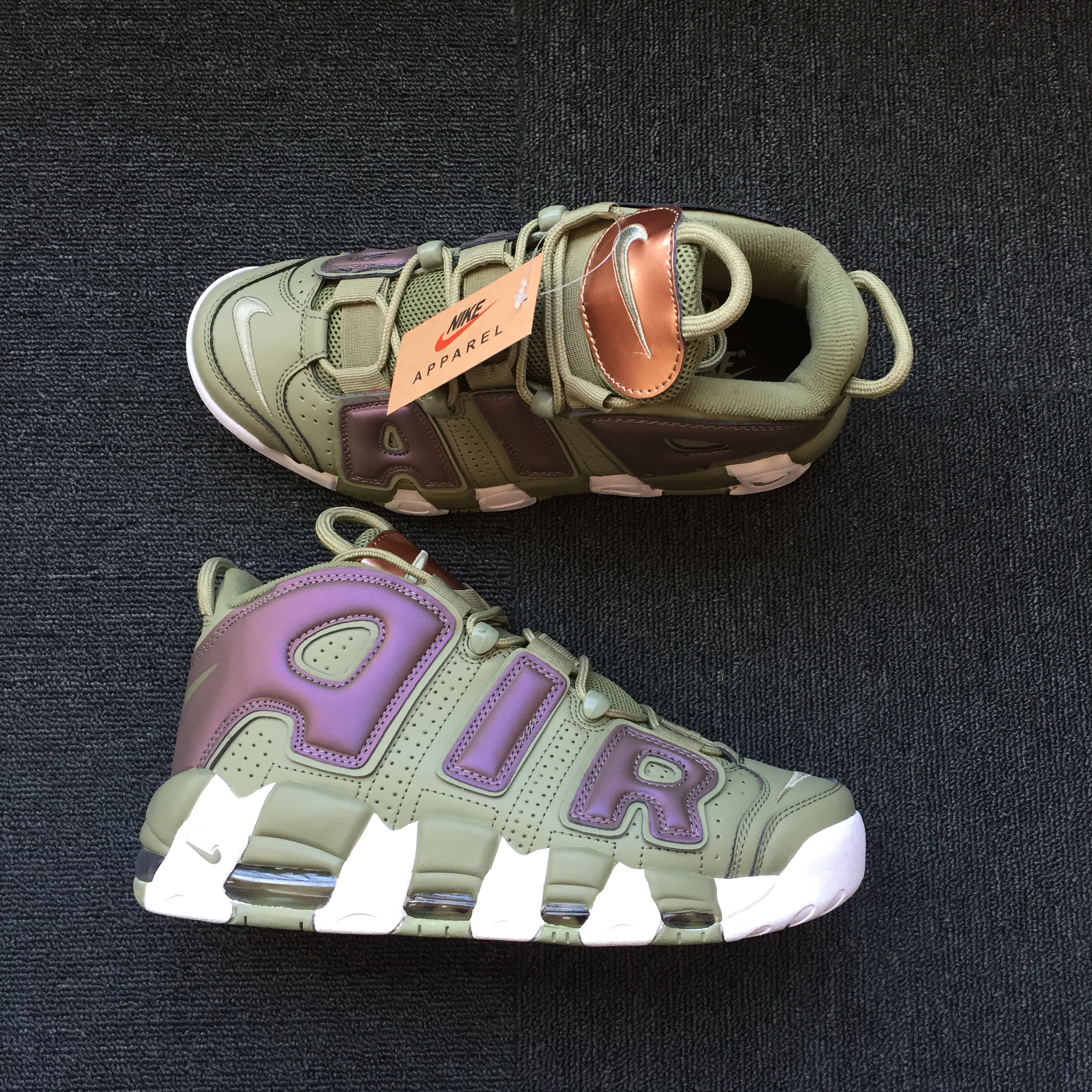 Men Nike Air More Uptempo Army Green Grey Shoes
