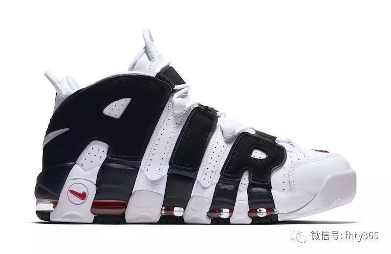 Men Nike Air More Uptempo Black White Red Shoes