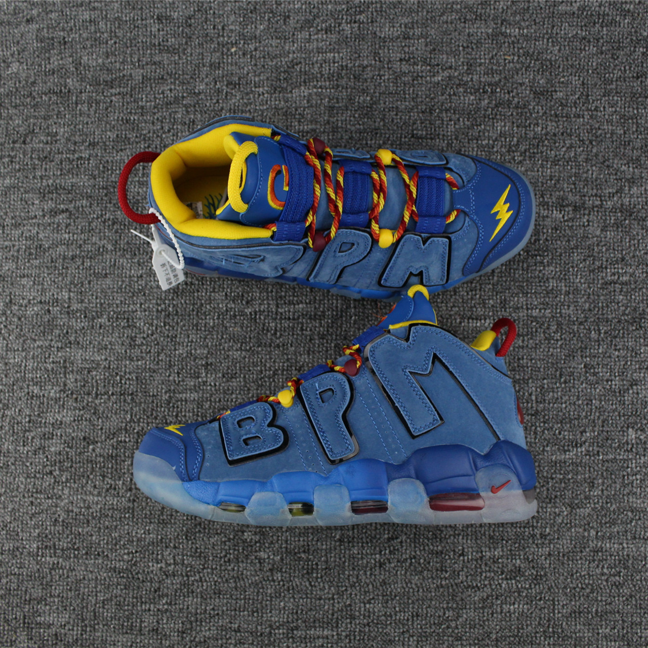 Men Nike Air More Uptempo Deer Skin Blue Yellow Shoes