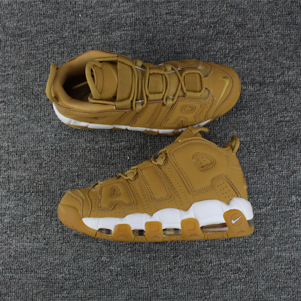 Men Nike Air More Uptempo Wheat Yellow White