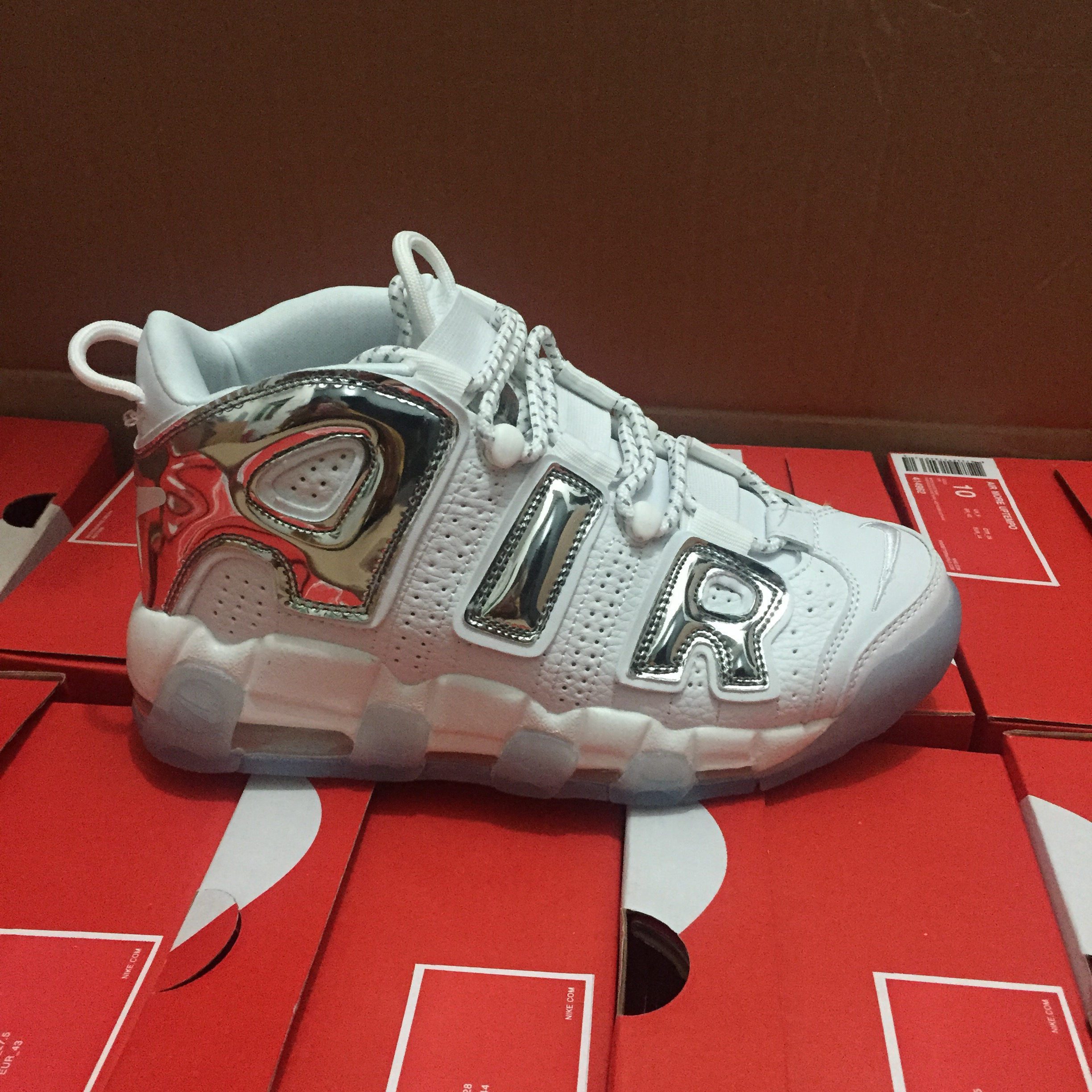 Men Nike Air More Uptempo White Silver Shoes