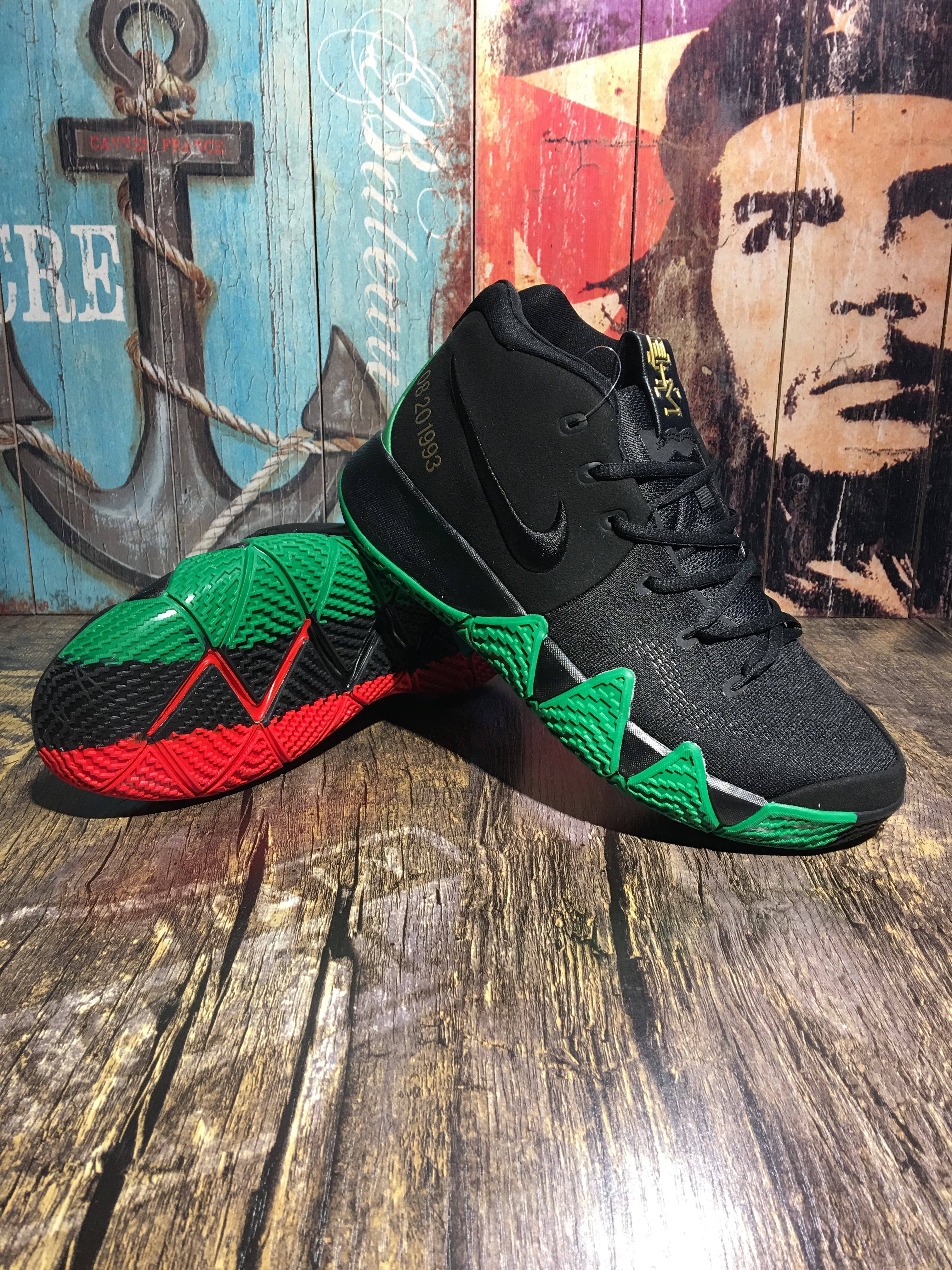 Men Nike Kyrie Irving 4 BHM Black Green Red Shoes