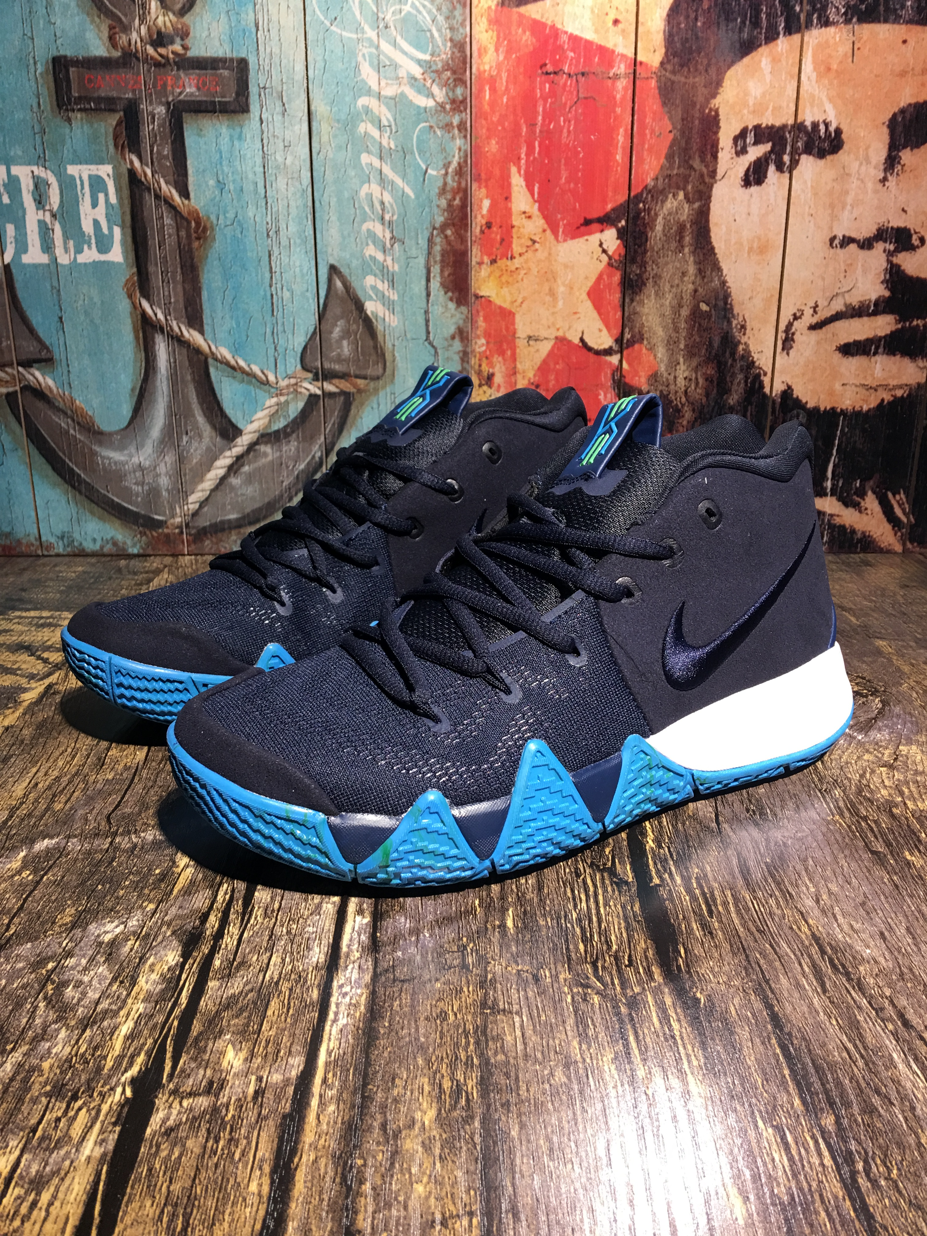 Men Nike Kyrie Irving 4 Deep Blue Jade Shoes