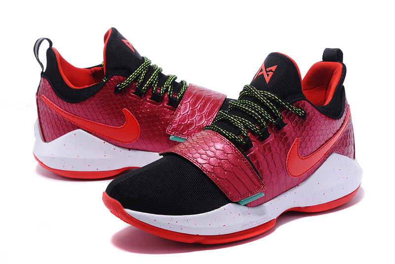 Men 2017 Nike PG 1 Hot Red Black Shoes