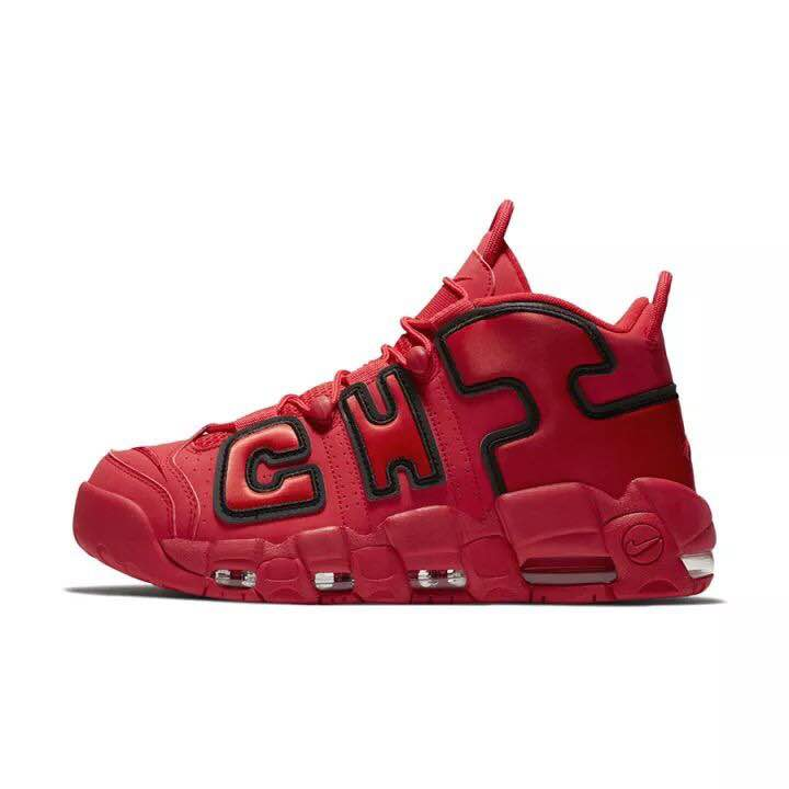 Men Nike Air More Uptempo Chicago Red Black Shoes