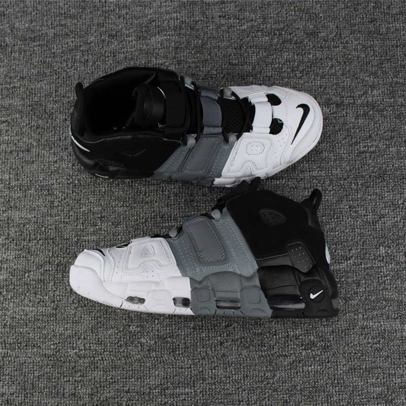 Men Nike Air More Uptempo White Grey Black Shoes