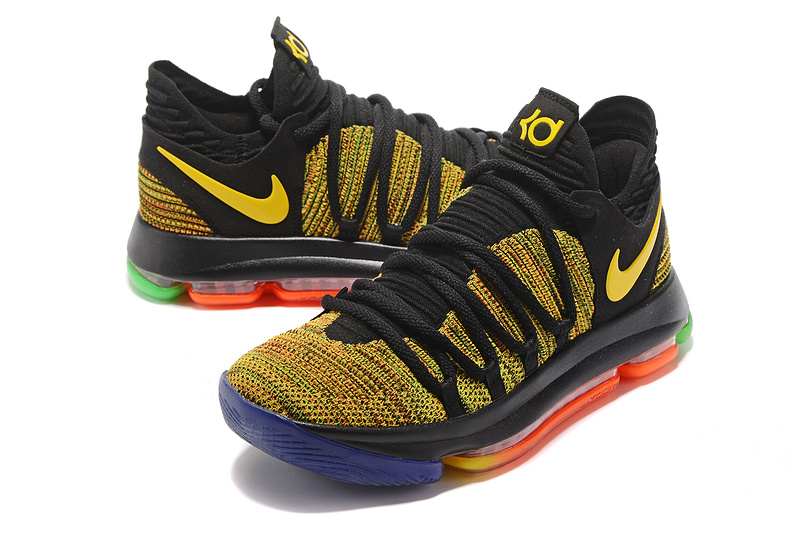 Men Nike Kevin Durant 10 Black Yellow Shoes