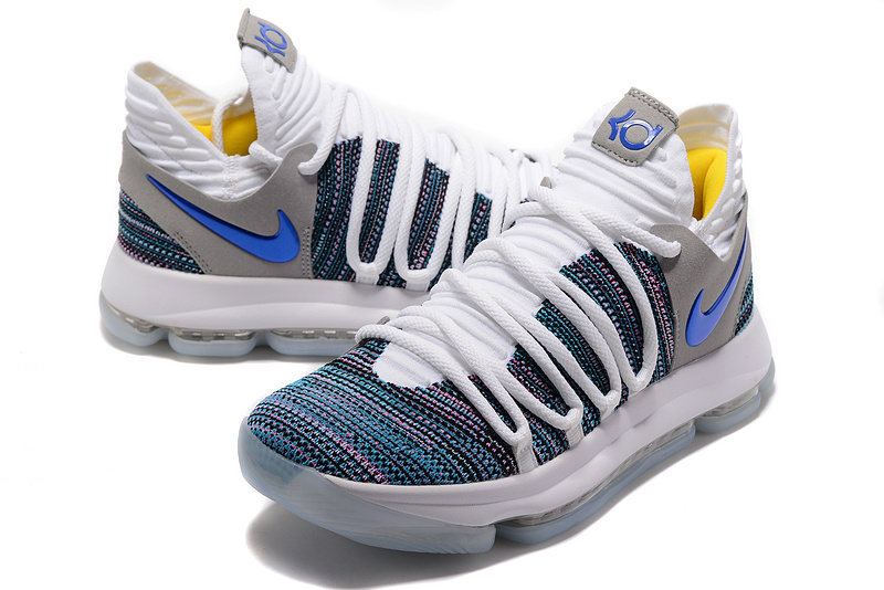 Men Nike Kevin Durant 10 White Grey Blue Shoes