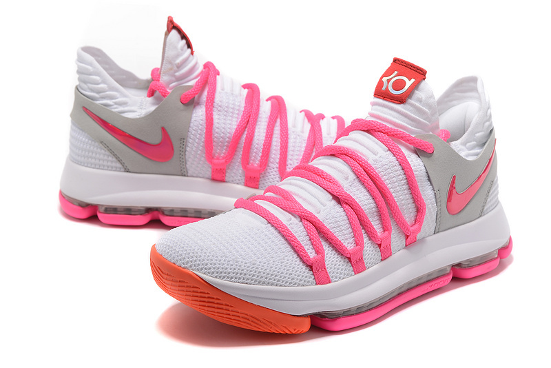 Men Nike Kevin Durant 10 White Pink Shoes