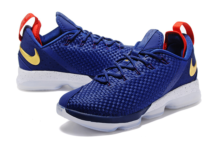 Men Nike Lebron 14 Low Blue Red Gold Shoes