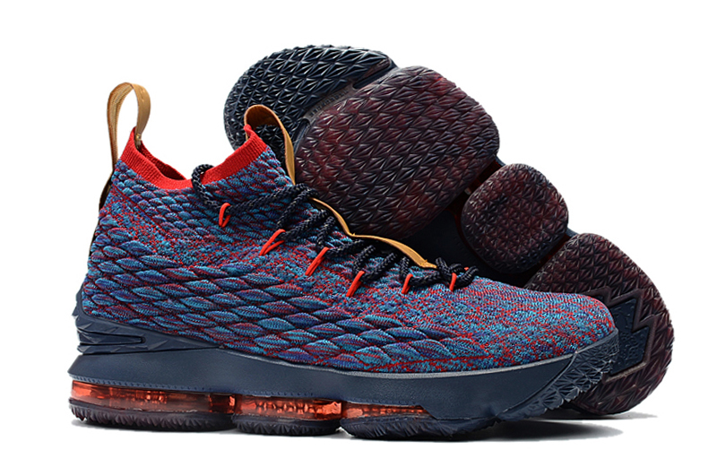 Men Nike Lebron 15 Deep Blue Red Shoes