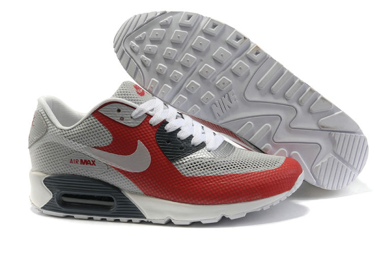 Mens Nike Air Max 90 Hyperfuse Trainers Red/Grey